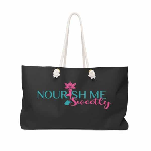 Nourish Me Sweetly Plain Weekender Bag in Black