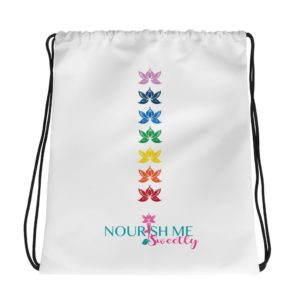 Nourish Me Sweetly Chakra Drawstring Bag in White