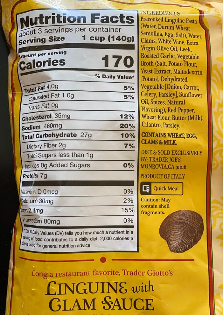 linguine with glam sauce nutrition packet info